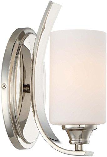 Minka Lavery Chrome Sconce - Minka Lavery Wall Light Fixtures 3981-613 Tilbury Wall Bath Vanity Lighting, 1-Light 100 Watts, Polished Nickel