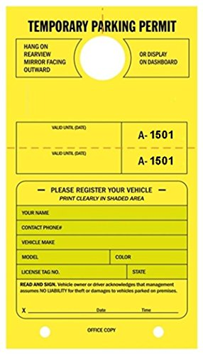 Temporary Parking Permit - Mirror Hang Tags, Numbered with Tear-Off Stub, 7-3/4'' x 4-1/4'', Bright Fluorescent Yellow - Pack of 50 Tags (1501-1550) by Linco