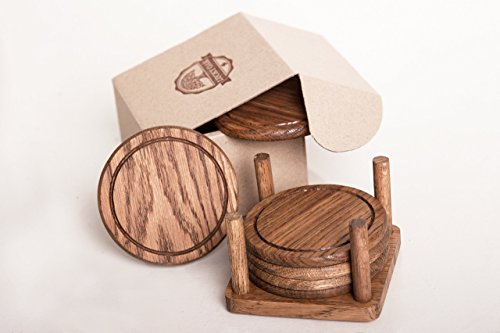 Sandstone Marble (Oak Drink Coasters Set of 6 with Holder - Premium Tabletop Protection (For Wood, Glass, Soapstone, Sandstone, Marble, Stone Tables))