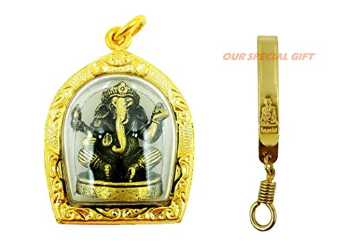 Hindu God gold case for luck success & rich pendant with golden hanger and amulet box