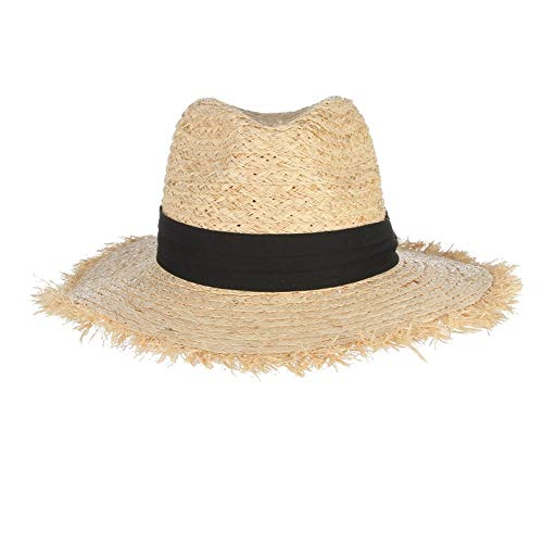 LONLLWK Sunhat Summer Hats for Women Fringe Tassel Raffia Straw Hat with Black Ribbon Foldable Large Brim Sun Hat Men Beach Cap Panama