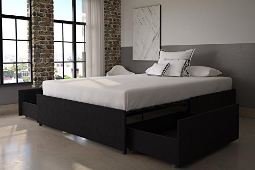 DHP Maven Platform Bed with Upholstered Linen and Wooden Slat Support and Under Bed Storage, Full Size - Grey