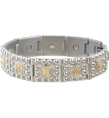 ead And Crosses Duet Magnetic Bracelet Two Tone Medium by Sabona (Duet Magnetic Mens Bracelet)