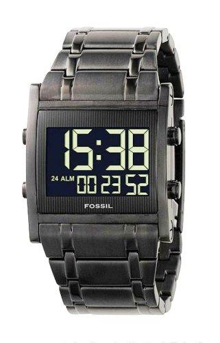 Fossil FS4154 - Reloj digital de cuarzo para hombre con correa de acero inoxidable, color negro: Amazon.es: Relojes