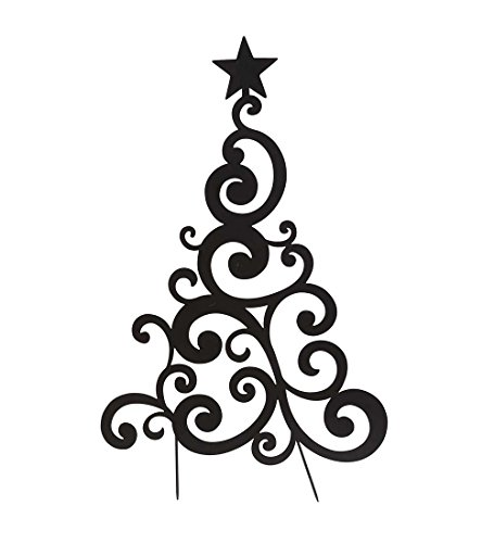 Stake Christmas Tree - Outdoor Black Metal Christmas Tree Sculpture Yard and Garden Stake 22.5 W x 36 H x .25 D