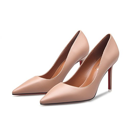 Shoes AalarDom Nude Womens Toe Pointed Pumps Stilettos Pull Solid On Spikes AzAfCwq