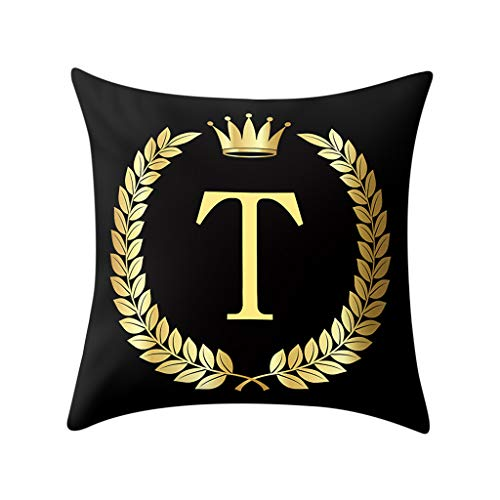 (Throw Pillow Cover, DaySeventh Pillow Cover Black and Gold Letter Pillowcase Sofa Cushion Cover Home Decor 18x18 Inch 45x45 cm)