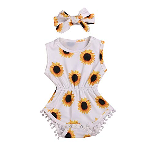 - Newborn Kids Baby Girls Clothes Floral Outfits Set Lace Romper Suit Baby Headband (Sunflower, 0-6 Months(70))