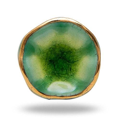 Ceramic Jordan Green Knobs Cabinet Drawer Knob Cupboard Dresser Pull by Trinca-Ferro