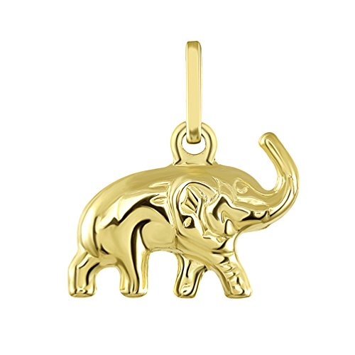 14K Yellow Gold Good Luck Elephant Charm Feng Shui Symbol Pendant ()