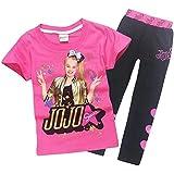 Lumiery Girls JoJo Siwa Print Cartoon T Shirt+Trousers Children Casual Set 2pcs - Red - 120(6-7y)