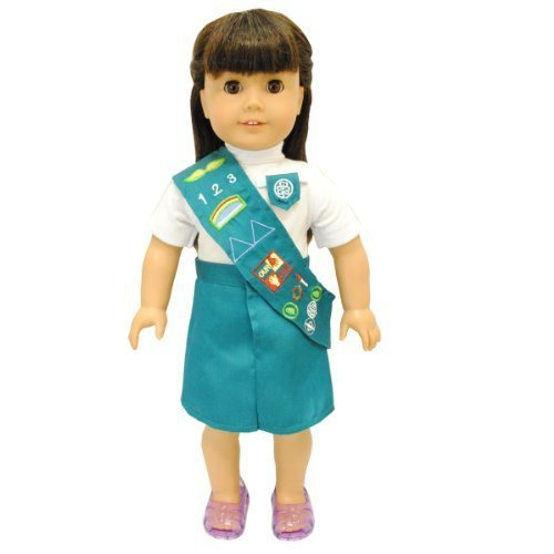 Pink Butterfly Closet Doll Clothes - Girl Junior Scout Uniform Fits American Girl Dolls, Madame Alexander and Other 18