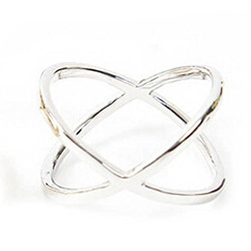 Botrong® Women Finger X Cross Three-dimensional Hollow Out Ring (Silver)
