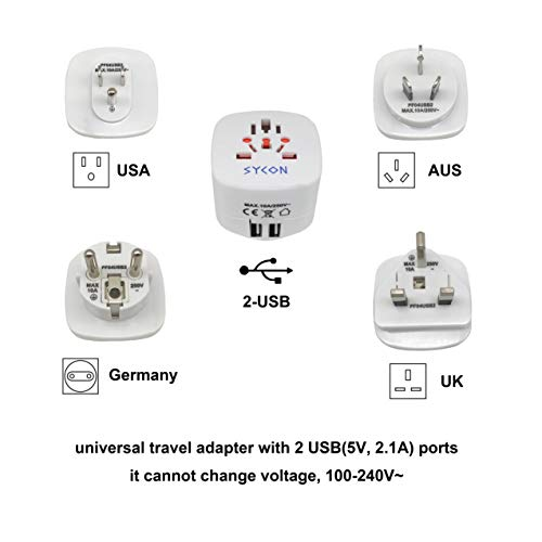Sycon All-in-One International Travel Plug Adapter with Dual USB Ports (UP-9KU) - Great for iPhone/Smartphones/Laptops & More (US/EU/UK/AU Adapter/W USB) by Sycon (Image #7)
