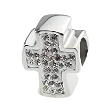 Beads Hunter Jewelry Bead Charm with Cz Crystal the Cross White Fit 3mm Pandora Chamilia Biagi & European Bracelets