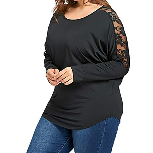 Vibola Tops for Women Clearance Sale, Plus Size Loose Lace Patchwork Blouse (5XL, Black) by Vibola
