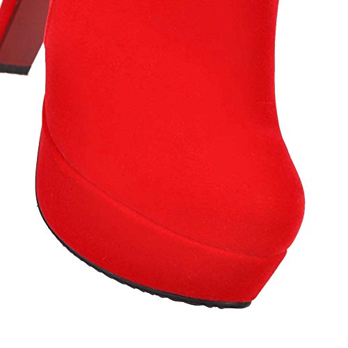 Heels High Red Frosted AgooLar Boots Zipper Low top Closed Women's Toe Round PPw5Y0