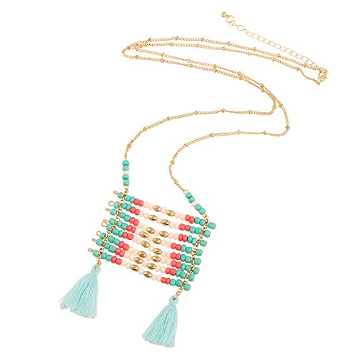 D EXCEED Handcraft Multi Layered Colourful Beaded Charms Tassel Pendant Necklaces, 32