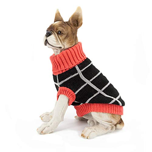 CHENGVERSON Pet's Gorgeous Sweater Puppy Black Stripe + Orange Turtleneck Hem-line Clothes Dog's - Gorgeous Turtleneck