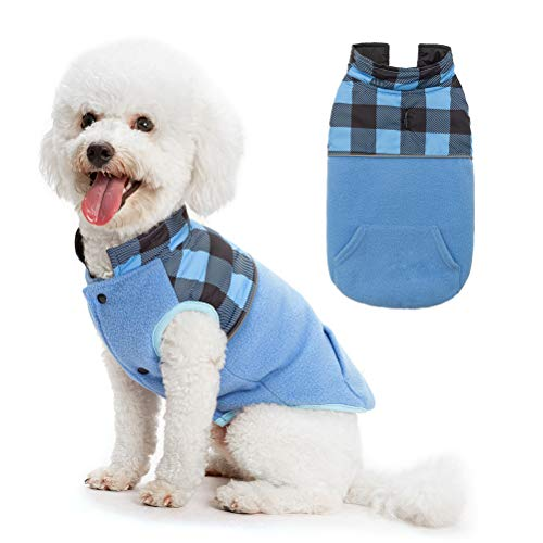 SCIROKKO Polar Fleece Dog Vest Winter Coat with Water-Proof Side - Reversible Pet Cold Weather Clothes - Plaid Jacket Cute Clothing for Puppy & Cats, Blue Large from SCIROKKO
