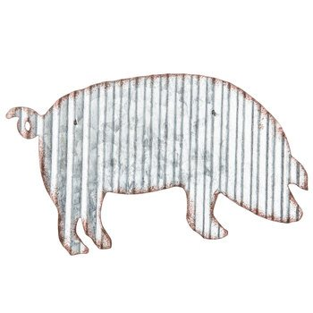(dist by classyjacs - Vintage Pig Cut Out - from Corrugated Galvanized Metal - Wall Hung - Add to Your Decor in Your Home, Office, Farm House, and (Galvanized Coated - Accented Rust Color Edges) pri)