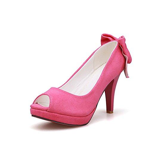 AdeeSu Ladies Spun Gold Bowknot Wheeled Heel Shoes Formal Pink Polyurethane Pumps Shoes 10 B(M) US (Wheeled Stretcher)
