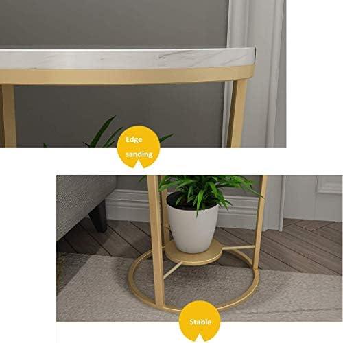 MLTYQ Meubles de Maison Table d\'appoint d\'angle à 2 Niveaux Petite Table Basse en marbre avec étagère Ronde en Fer forgé, Meubles de Salon, Salon ou Salon
