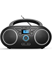 Portable CD Player Boombox with Bluetooth & FM Radio, USB MP3 Playback,3.5mm AUX Headphone Jack and USB Input, Compact CD Player Radio Stereo System (Black)