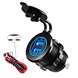 YonHan 36W Quick Charge 3.0 Dual USB Car Charger Socket Power Outlet QC3.0 & QC3.0 With Wire Fuse DIY Kit for 12V/24V Marine Boat Golf Cart Truck Motorcycle More, Blue LED Display