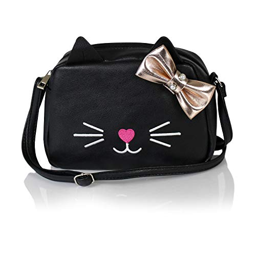 - Chic Kitty Crossbody Bag- Vegan Leather Small Purse with Cute Hipster Rose Gold Cat Design (Black with Bow)