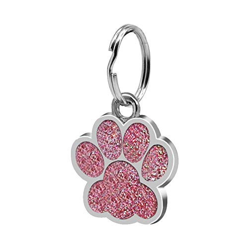 (Baost 1Pc Fashion Durable Long Lasting Pet ID Tag Jewelry Gift Mini Paw Shape Puppy Dog Cat Collar ID Tag Necklace Pendant Pet Cartoon Glitter ID Tags for Dogs Cats Pink)