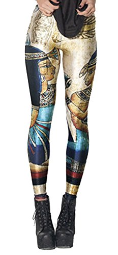 QZUnique Women's Ancient Egyptian Printed Elastic Tights Leggings,Ancient Egyptian,One Size
