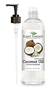 Coconut (Fractionated) Carrier Oil + PUMP. A Base Oil for Aromatherapy, Essential Oil or Massage use 16 FL Oz