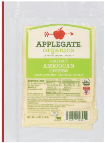 Applegate, Sliced Organic American Cheese, 5 oz