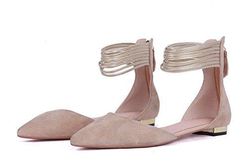 Amoonyfashion Femmes Vache En Cuir Fermeture À Glissière Solide Pointu Bout Fermé Talons Bas Pompes Chaussures Abricot