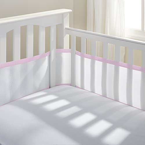 BreathableBaby | Classic Mesh Crib Liner | White/Pink Seersucker (Seersucker Baby Bedding)