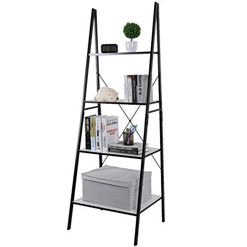 Lifewit Ladder Shelf Bookshelf 4 Tiers Bookcase, Plant Stand Storage Shelf for Garden, Storage Rack for Bathroom/Living Room, Metal Frame.