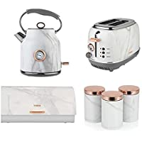 Set of 6 Tower Kitchen Rose Gold & White Marble Small Appliances & Accessories - Rose Gold Bottega 2 Slice Toaster,1.7 Litre Jug Bottega Kettle & Rose Gold Linear Retro Bread bin and 3 Canisters Set