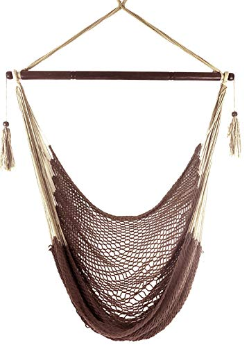 Krazy Outdoors Mayan Hammock Chair – Large Cotton Rope Hanging Chair Swing with Wood Bar – Comfortable, Lightweight – for Indoor Outdoor Porch, Yard, Patio and Bedroom Mocha Brown