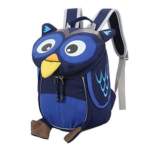 Buddy Toddler Kids Backpack Cute Owl Backpack Waterproof School Bag 3D Animal Children Daypack Blue