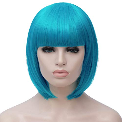 Short Light Blue Bob Hair Wigs with Bangs for Women Straight Synthetic Wig Natural As Real Hair 12'' with Wig Cap BU27LB]()