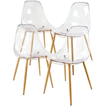 Green Forest Acrylic Dining Side Chairs Transparent Clear Seat With Strong  Metal Legs, Set Of