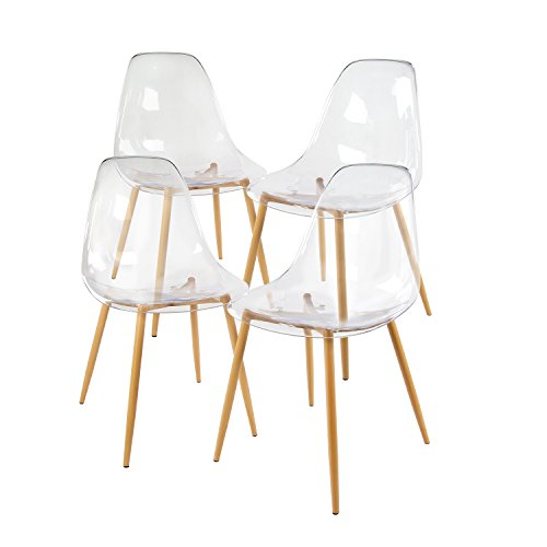 GreenForest Acrylic Dining Side Chairs Lucite Transparent Clear Seat Strong Metal Legs, Set of 4 ()