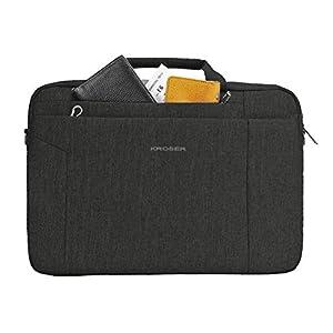 KROSER Laptop Bag 15.6 Inch Briefcase Shoulder Messenger Bag Water Repellent Laptop Bag Satchel Tablet Bussiness Carrying Handbag Laptop Sleeve for Women and Men-Charcoal Black