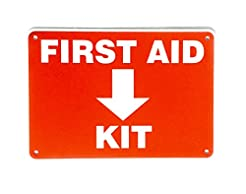 First Aid Sign, Durable Plastic Safety S...