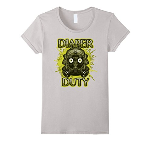 Womens Diaper Duty Baby Changing Time T-shirt XL Silver