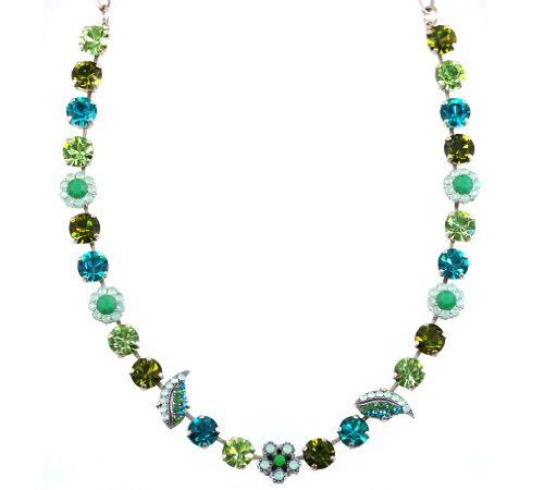 Mariana ''Angelica'' Silver Plated Swarovski Crystal Flower and Leaf Choker Necklace, 16+2'' Extender by Mariana