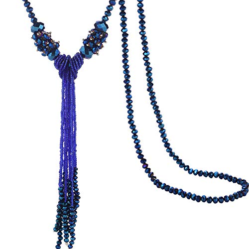 BaubleStar Long Beaded Tassel Necklace for Women Girls Roayl Blue Beads Chain Statement Sweater Y Necklace Fashion Jewelry B70Blue ()