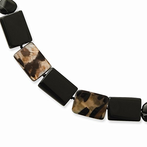 ICE CARATS 925 Sterling Silver Agate/glass Black Bead/mother Of Pearl Bracelet 7.50 Inch Natural Stone/Wood Fine Jewelry Ideal Gifts For Women Gift Set From Heart by ICE CARATS (Image #5)