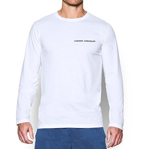 Under Armour Men's Charged Cotton Long Sleeve T-Shirt, White/Graphite, Small